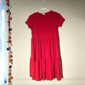 See You Monday Red Tiered Ribbed Babydoll Dress